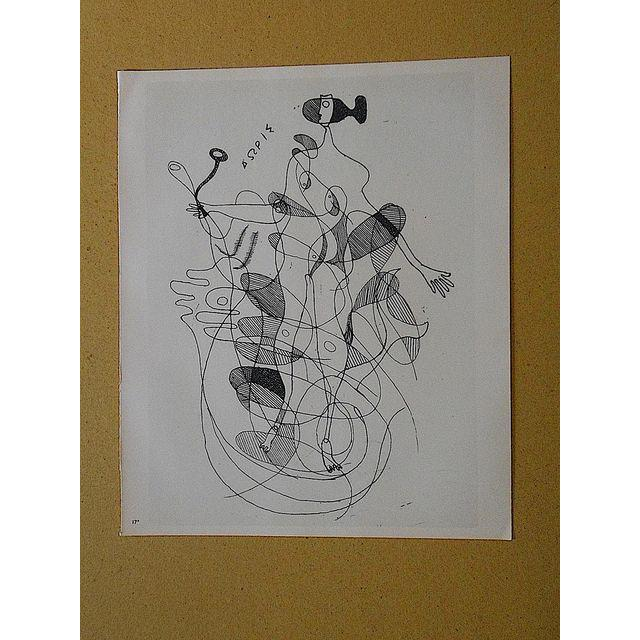 This captivating mid 20th century lithograph (offset) depicts one of Georges Braque's iconic abstracted images. Braque...
