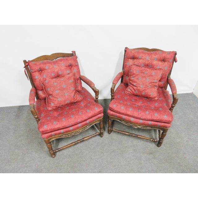 Country French Oak Floral Carved Chairs- a Pair For Sale - Image 4 of 7