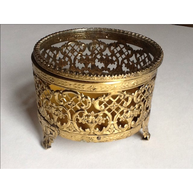 Vintage Gold Filigree Ornate Jewelry Box - Image 2 of 5