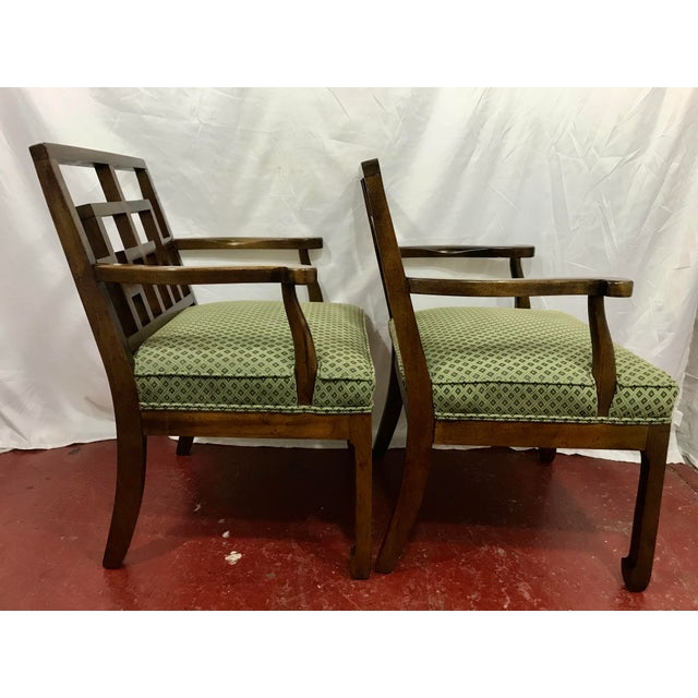 1970s MCM Walnut Chippendale Interpretation Chairs a Pair For Sale - Image 5 of 6