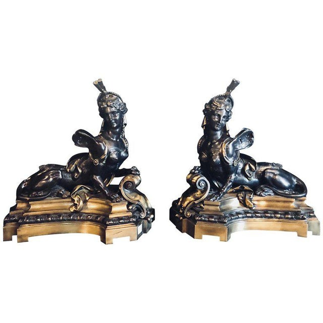 Pair of 19th Century Louis XVI Palatial Figural Fireplace Chenet / Andirons For Sale - Image 13 of 13