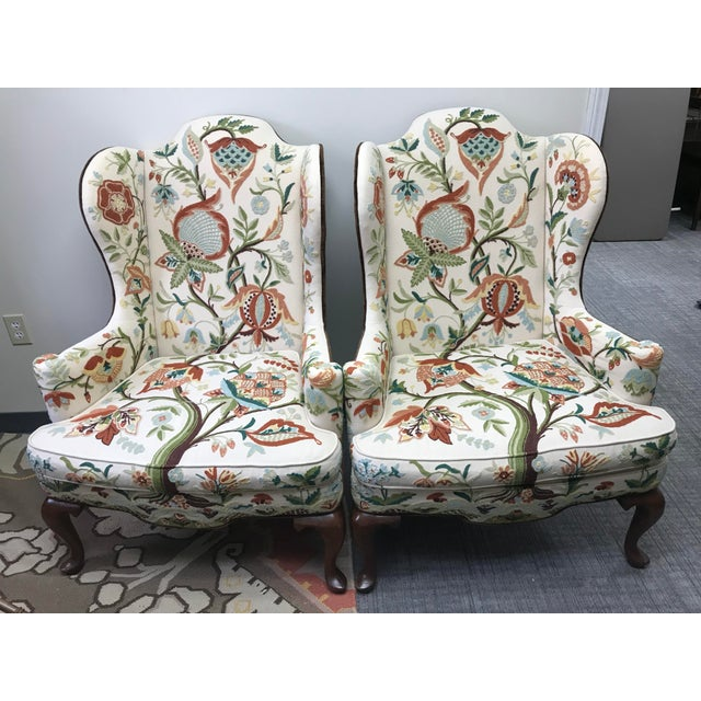 1976 Boho Chic Woodmark Crewel Wingback Arm Chairs - a Pair For Sale - Image 13 of 13