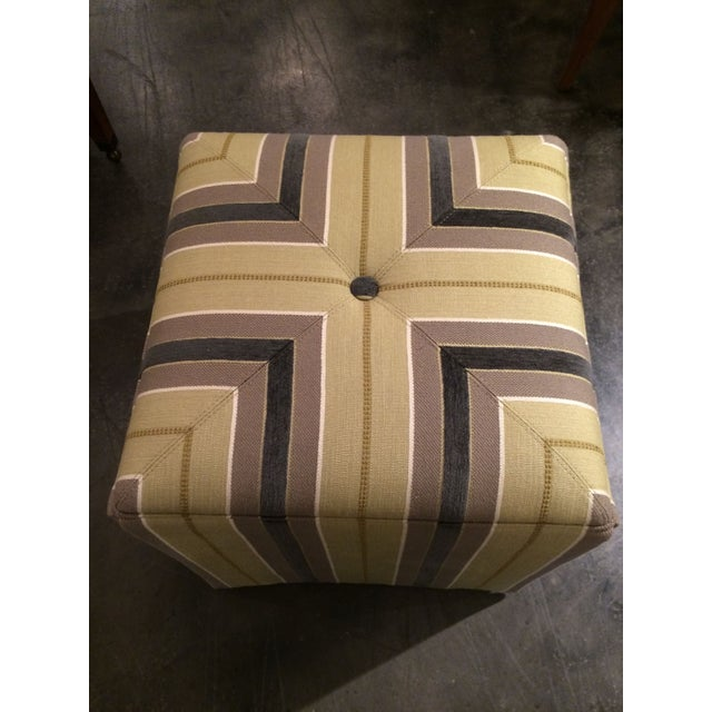 Taylor King Upholstered Striped Cube Ottomans - a Pair For Sale - Image 5 of 7