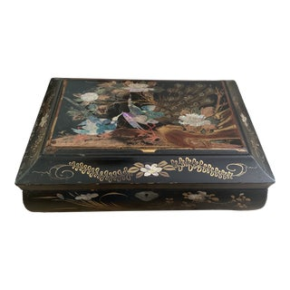 19th Century Chinese Black Lacquered Peacock and Peony Decorated Box With Abalone Inlay For Sale