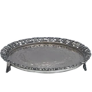 Antique Continental 800 Silver Footed Wine Coaster For Sale