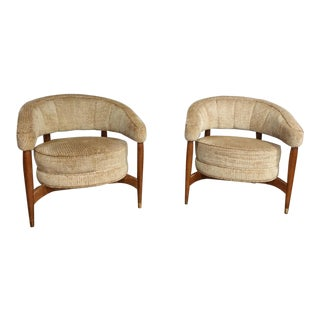 1950s Vintage Barrel Back Chairs- A Pair For Sale