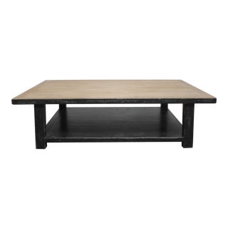 Large Reclaimed Pine Wood Coffee Table With Distressed Black Finish For Sale