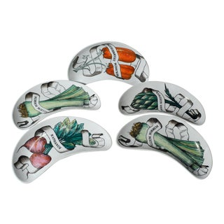 Piero Fornasetti Legumi Set of Five Demi Lune Side Dishes- Set of 5 For Sale