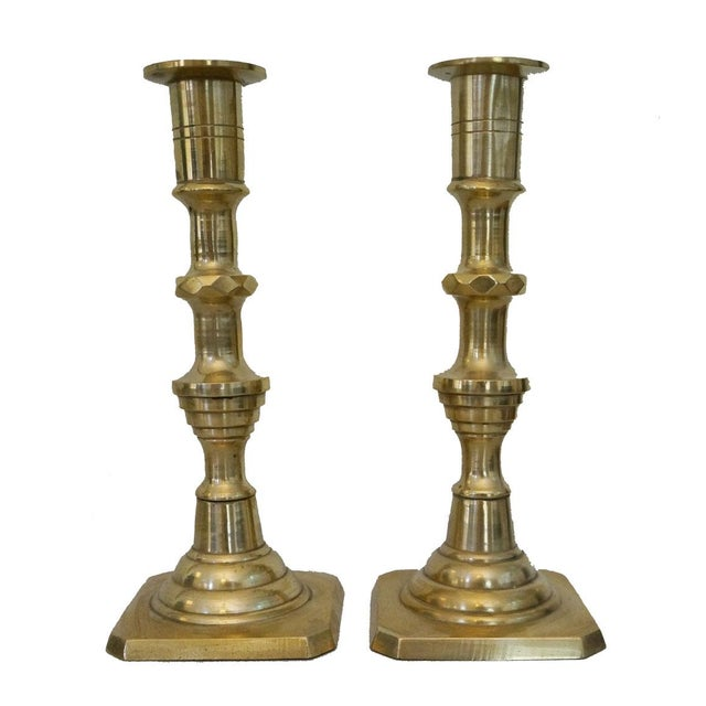 Vintage Brass Candlesticks - A Pair - Image 1 of 3