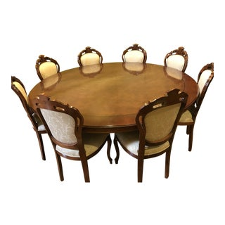 English Traditional Walnut Radica Dining Set - 9 Pieces For Sale