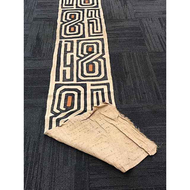 """Late 20th Century Vintage 12 Foot Handwoven Kuba Cloth-African Art-120"""" X 21""""-Wall Hanging/Rug/Fashion For Sale - Image 5 of 6"""