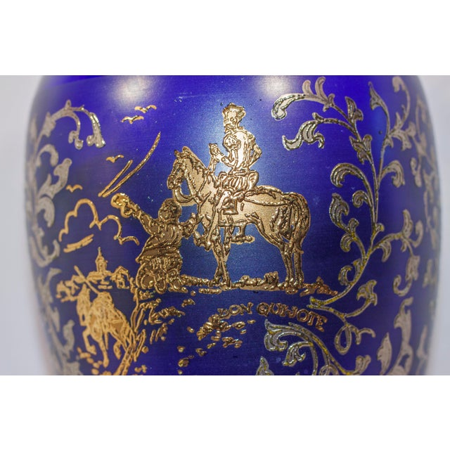 Vintage Cobalt Blue Moser Glass Crystal Vase Don Quixote Bohemian