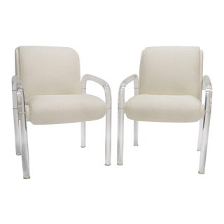 Pair of Heavy Leon / Lion in the Frost Lucite Armchairs with New White Upholstery