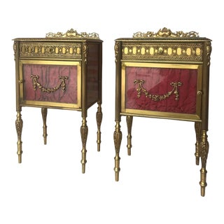 Louis XVI Pair of Bronze Vitrine Nightstand With Glass Door and Drawer For Sale