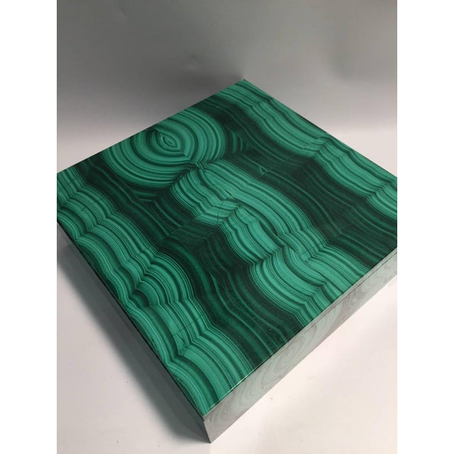 Large Square Bookmatched Malachite Box with Removable Lid Made in India For Sale In New York - Image 6 of 9