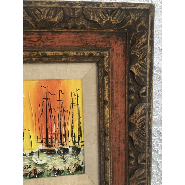 Wood 1970s Style Modern Ships Small Painting For Sale - Image 7 of 11