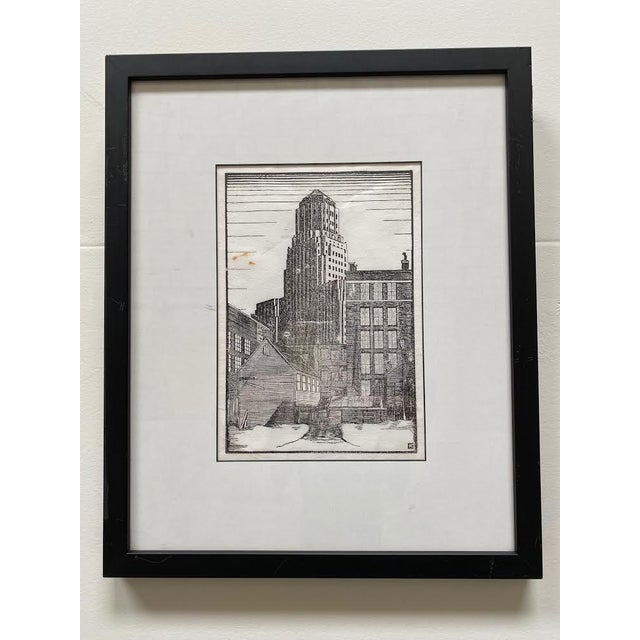 Black Mid 20th Century Art Deco Style Architectural Landscape Woodcut Print, Framed For Sale - Image 8 of 8