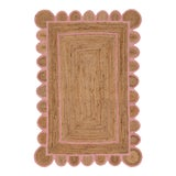 Image of Scallop Jute Light PInk Hand Made Rug - 2'x3' For Sale