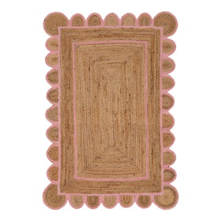 Scallop Jute Light PInk Hand Made Rug - 2'x3' For Sale