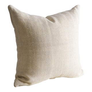 "Vintage Linen Pillow Cover 22"" x 22"" For Sale"