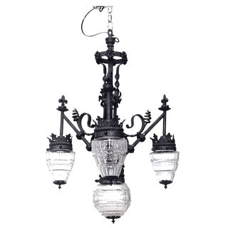 19th-20th Century French Provincial Style Wrought Iron Three-Arm Chandelier For Sale