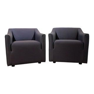 Pair of Mid-Century Danish Modern Knoll Blue Club Chairs