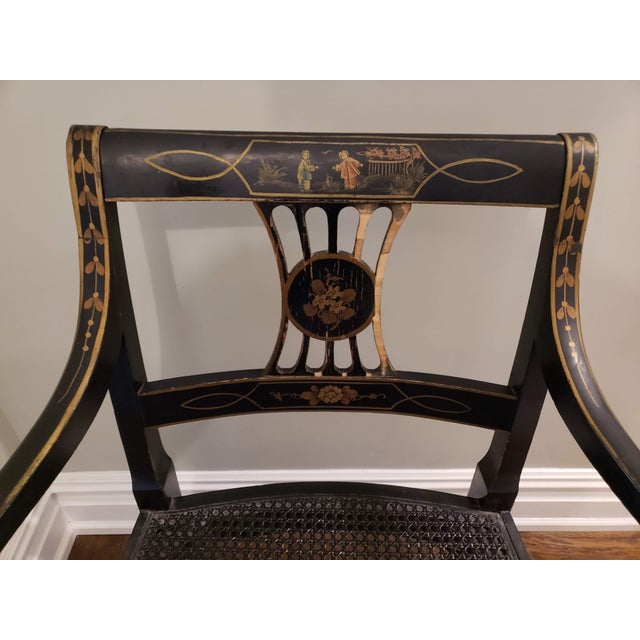 1920s Vintage Regency Style Black and Gold Arm Chairs- A Pair For Sale In New York - Image 6 of 7