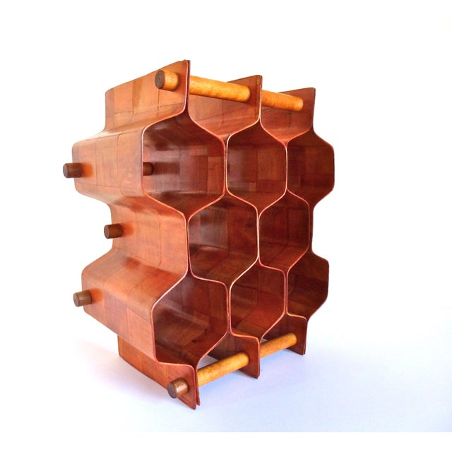 Very mod bentwood honeycomb wine rack designed by Torsten Johansson, Sweden. The parquet pattern adds another dimension to...