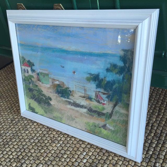 Original Oil Pastel Caribbean Coastal Seascape Framed Art For Sale - Image 4 of 11
