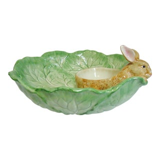 Fitz & Floyd Rabbit in Cabbage Patch Chip and Dip Plate