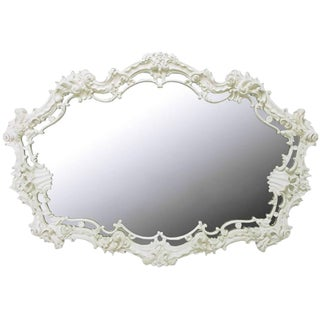 Extraordinary Italian Rococo Mirror of White Lacquered Gesso For Sale