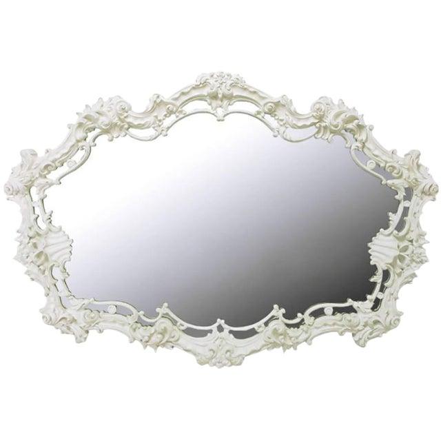 Extraordinary Italian Rococo Mirror of White Lacquered Gesso For Sale