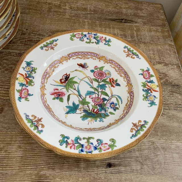 Minton Antique English Minton Chinoiserie Shallow Dinner Bowls- Set of 8 For Sale - Image 4 of 11