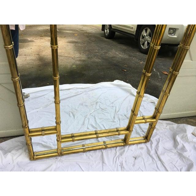 Metal Mastercraft Brass Faux Bamboo Mirror W/Greek Key For Sale - Image 7 of 10