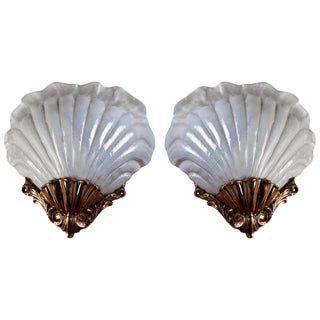 Iridescent Nautical Glass & Brass Shell Sconces From European Cruise Ship, 1981 For Sale