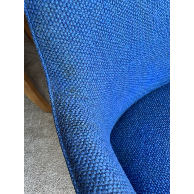1970's Steelcase Mid-Century Blue Swivel Barrel Chair For Sale - Image 9 of 12