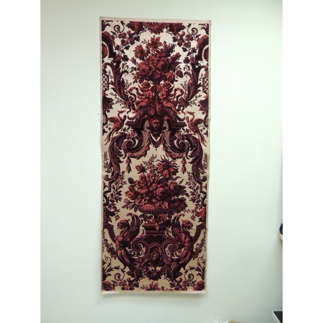 Antique Red and Burgundy Silk Cut Velvet Allegorical Panel For Sale In Miami - Image 6 of 6
