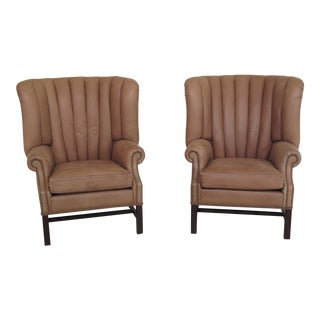 Hancock & Moore Tan Leather Channel Back Wing Chairs- A Pair For Sale