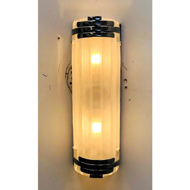Early 21st Century Marlene Frosted Murano Glass Chrome Sconces / Flush Mounts by Fabio Ltd - a Pair For Sale - Image 5 of 8