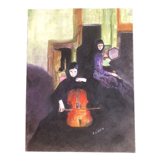 Lisa Burris Acrylic Painting Two Female Musicians Playing the Cello and Piano