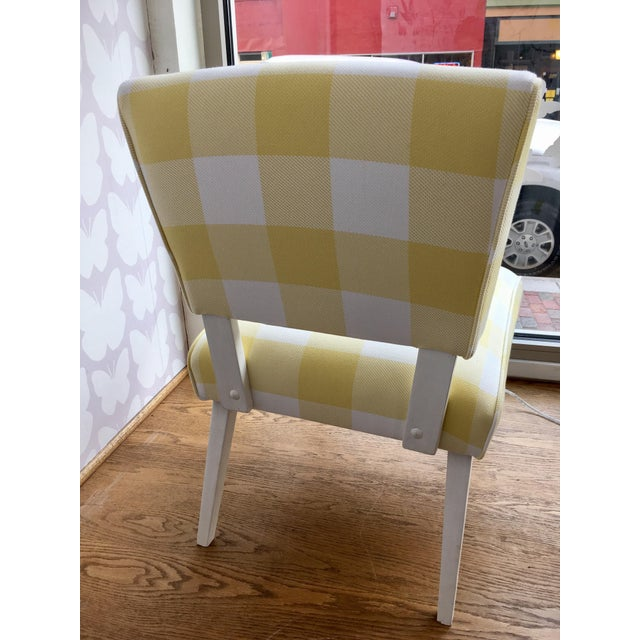 Mid-Century Yellow & White Gingham Chair - Image 3 of 6