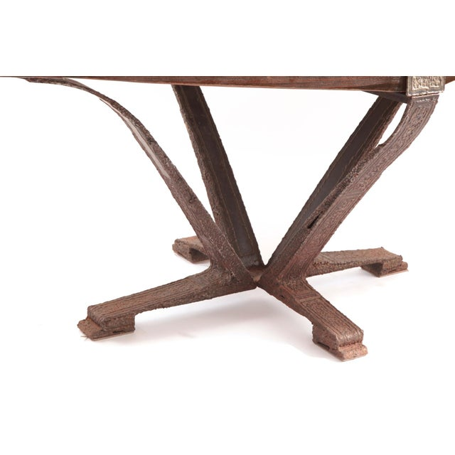 Brutalist Steel & Pine Dining Table & Chairs - Set of 7 - Image 5 of 5