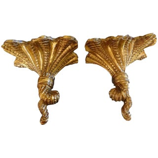 1940s Italian Gilt Wood Wall Brackets - a Pair For Sale
