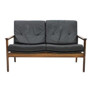 Scandinavian Settee in Rosewood and Black Leather Sofa, 1960s For Sale