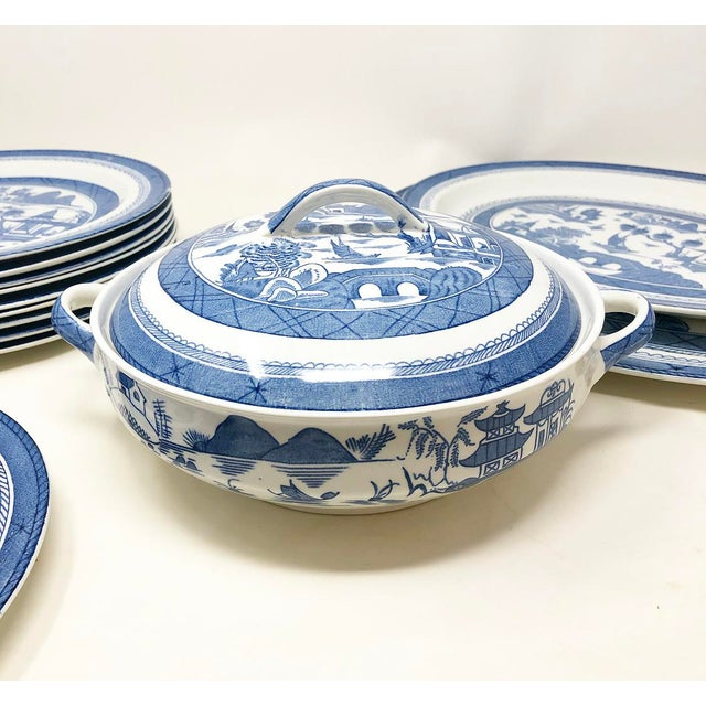 Wood & Son Antique Blue & White Canton Pattern China Collection - Set of 14 For Sale - Image 4 of 13