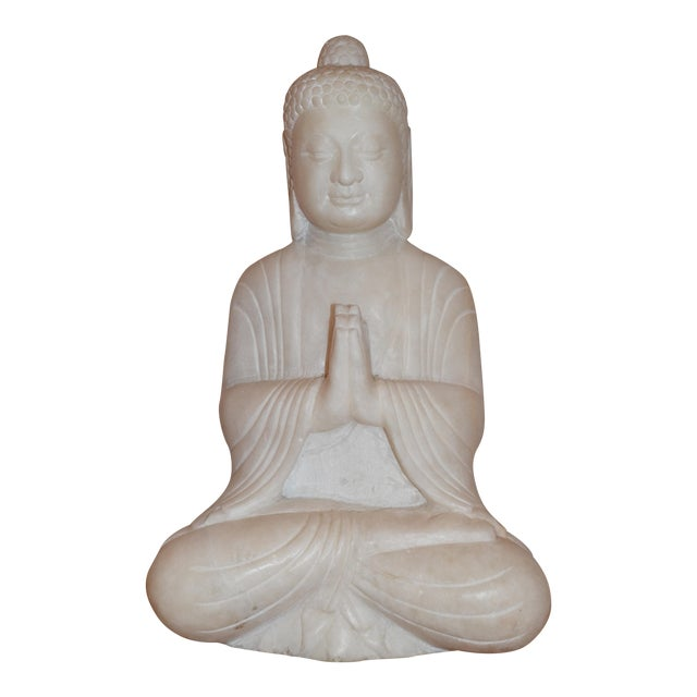 Antique White Marble Buddha Statue - Image 1 of 7