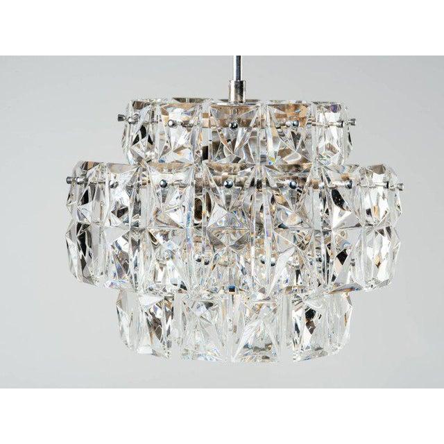 Transparent German Mid-Century Modern Faceted Crystal Chandelier by Kinkeldey For Sale - Image 8 of 11