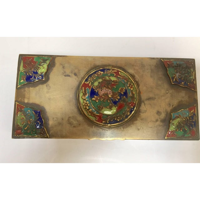 Art Deco Brass Art Deco Lidded Box With Enameled Decoration For Sale - Image 3 of 13