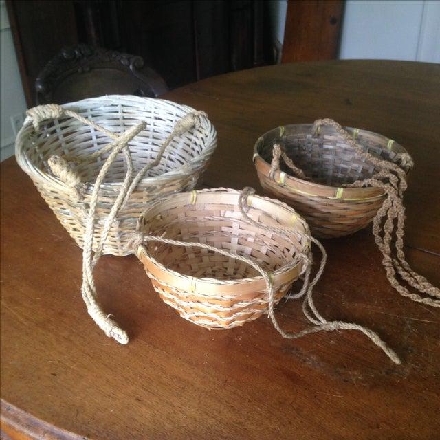 Vintage Hanging Wicker Baskets - Set of 3 - Image 5 of 11
