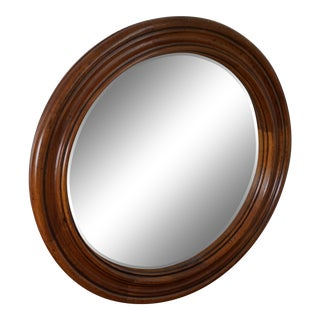 Henredon Round Wood Mirror For Sale